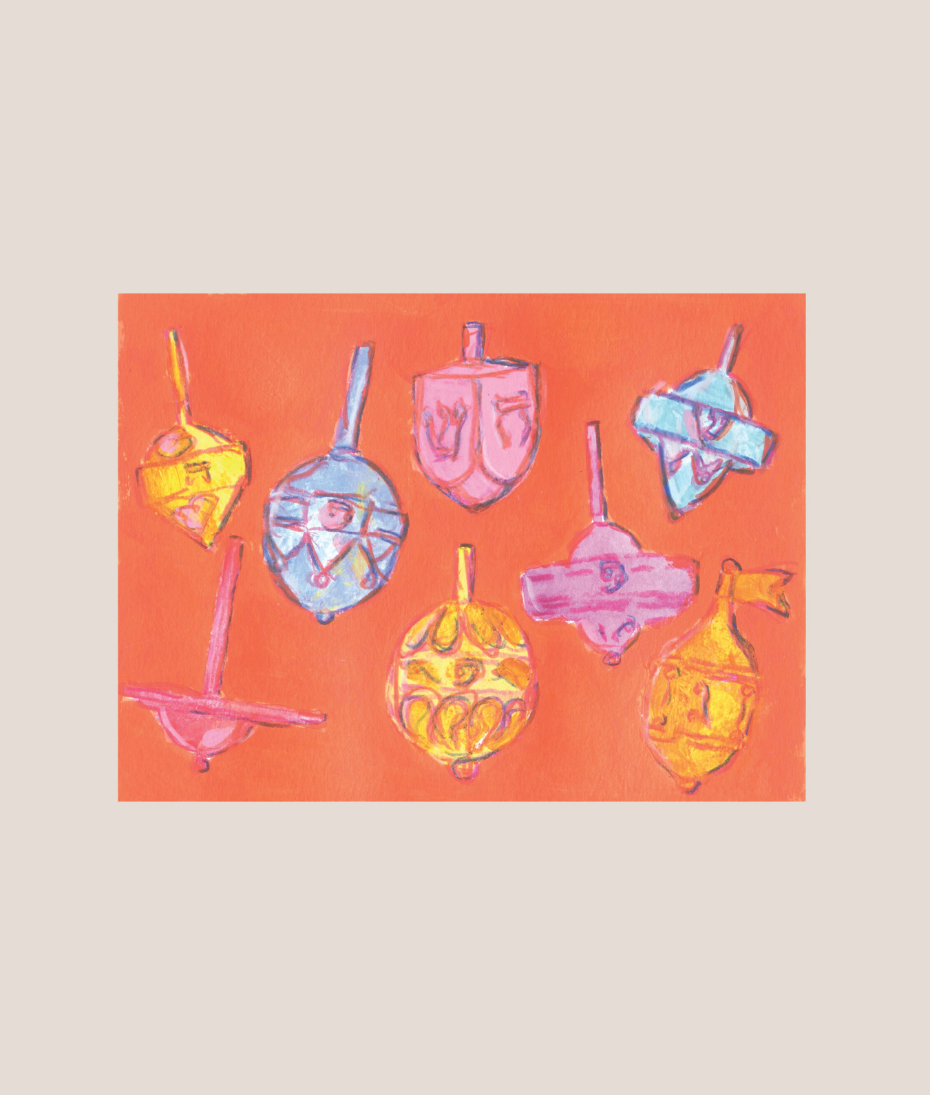 orange card with blue pink yellow dradle illustrations