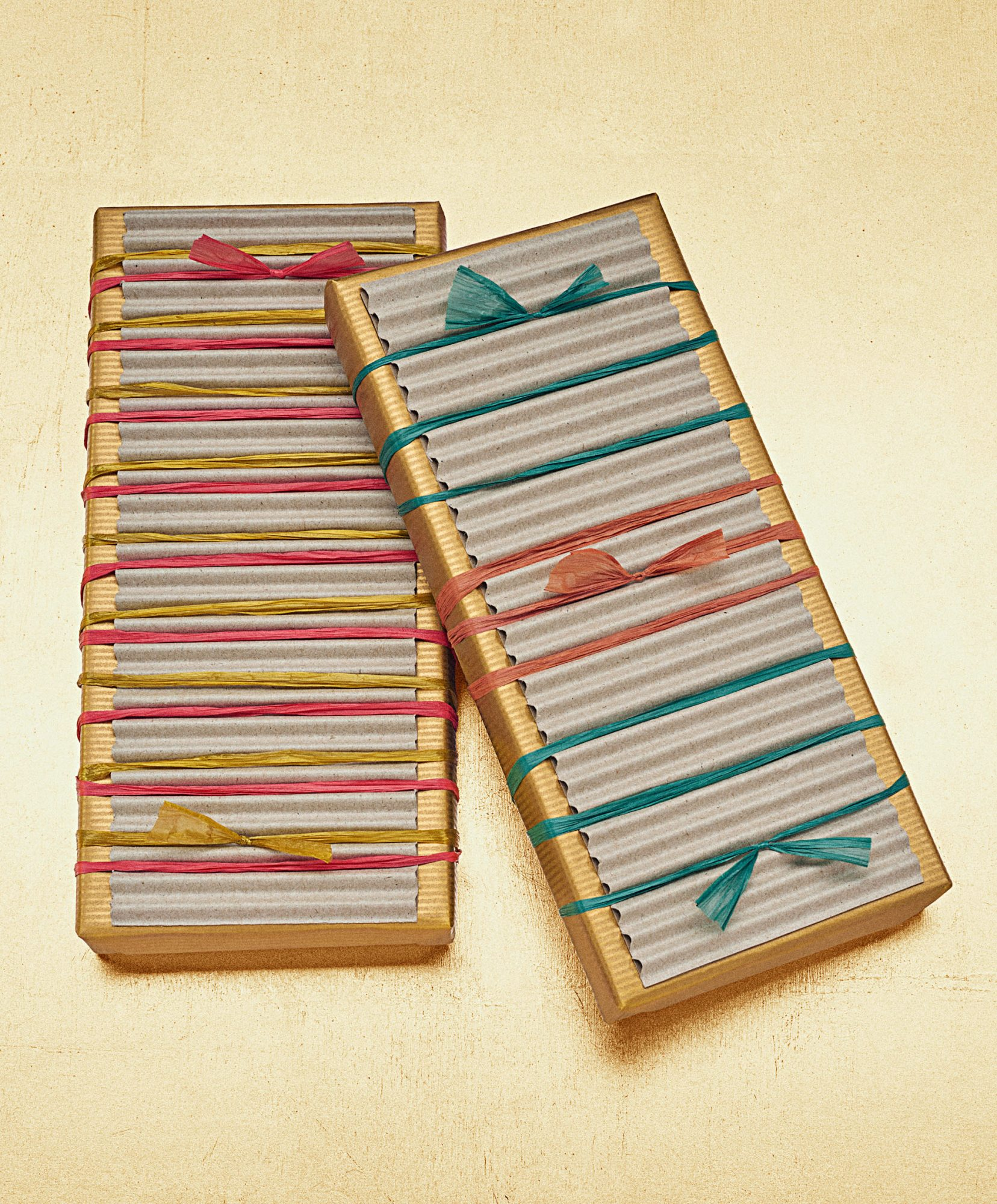 raffia-tied gift package