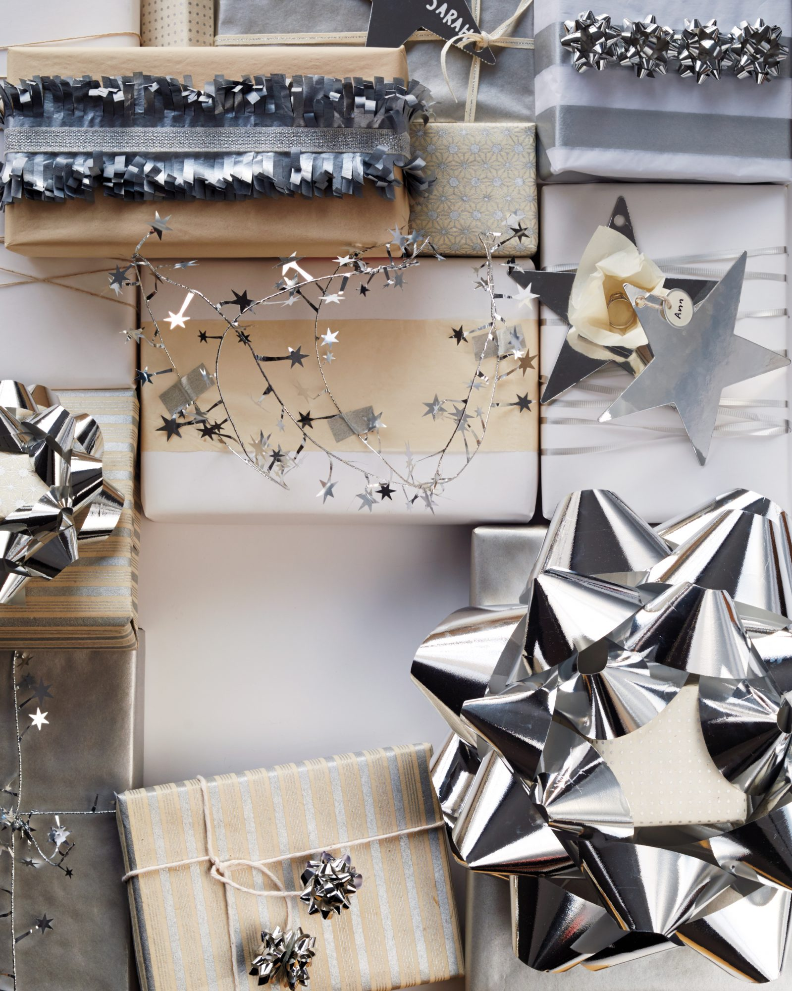 silver gift-wrapping and toppers