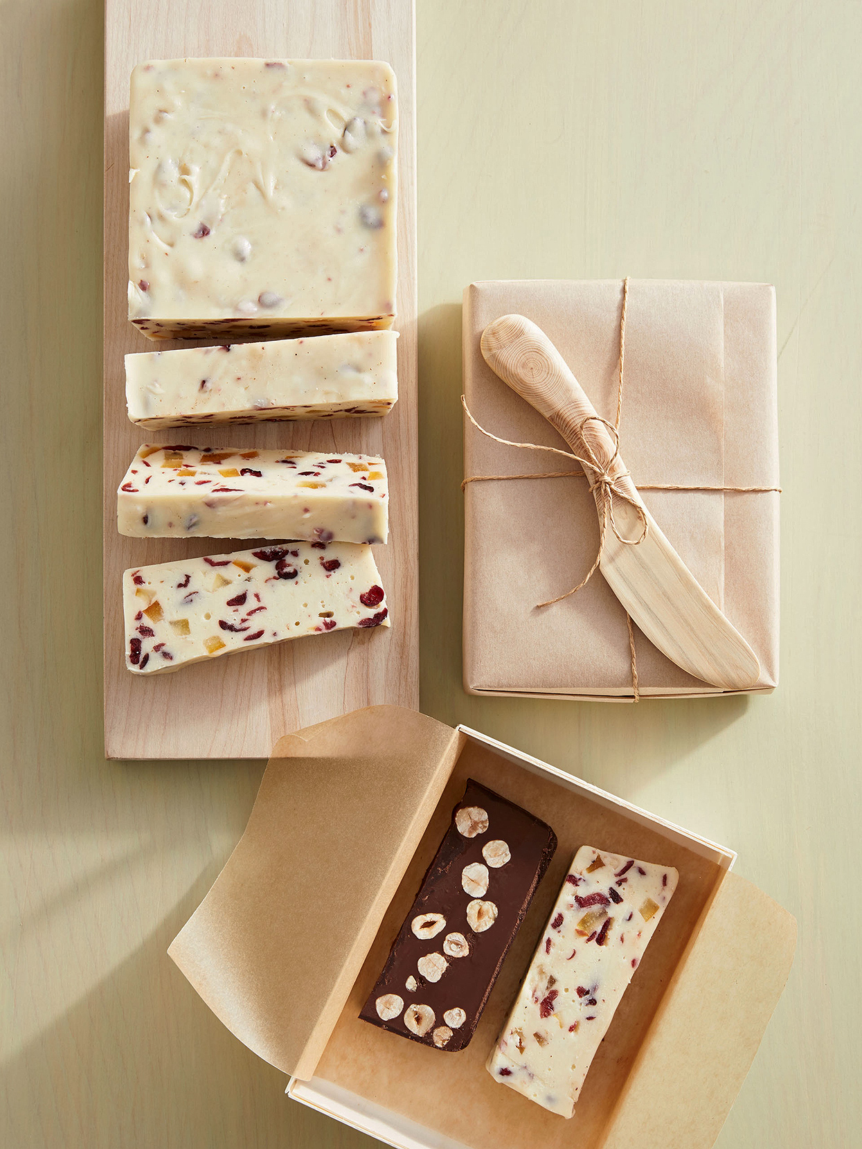 White Chocolate Fudge with Cranberries and Candied Citrus