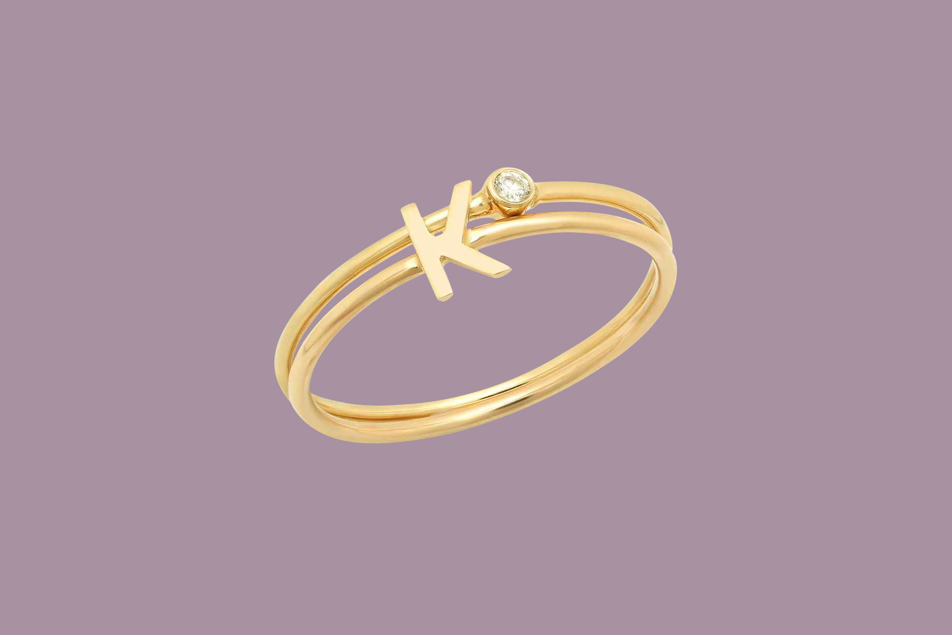 ByChari Initial and Lily Ring Set