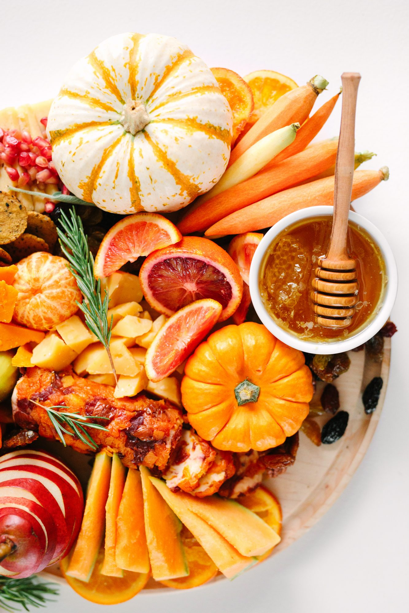 grazing board of fall fruits and vegetables