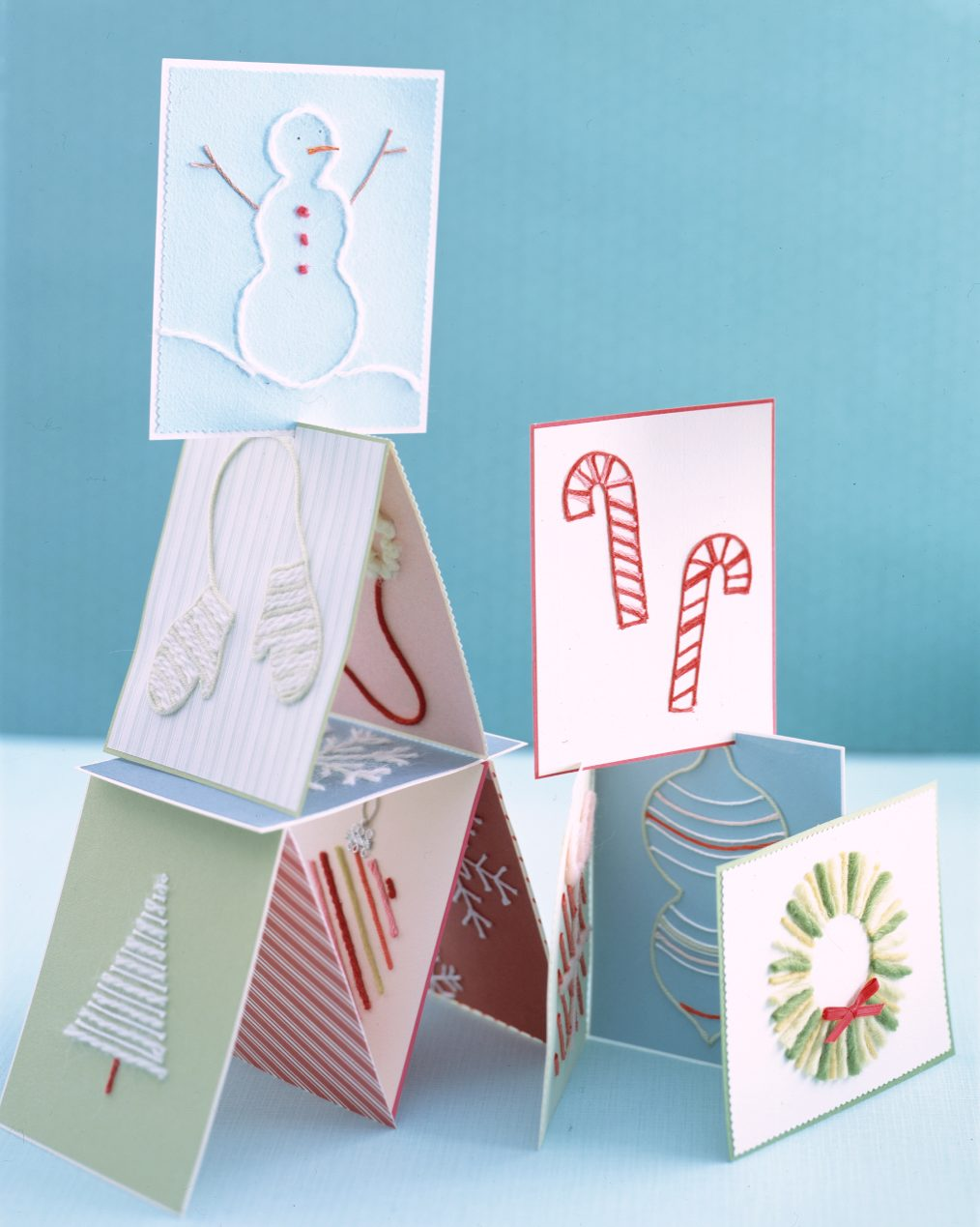 holiday cards made of yarn