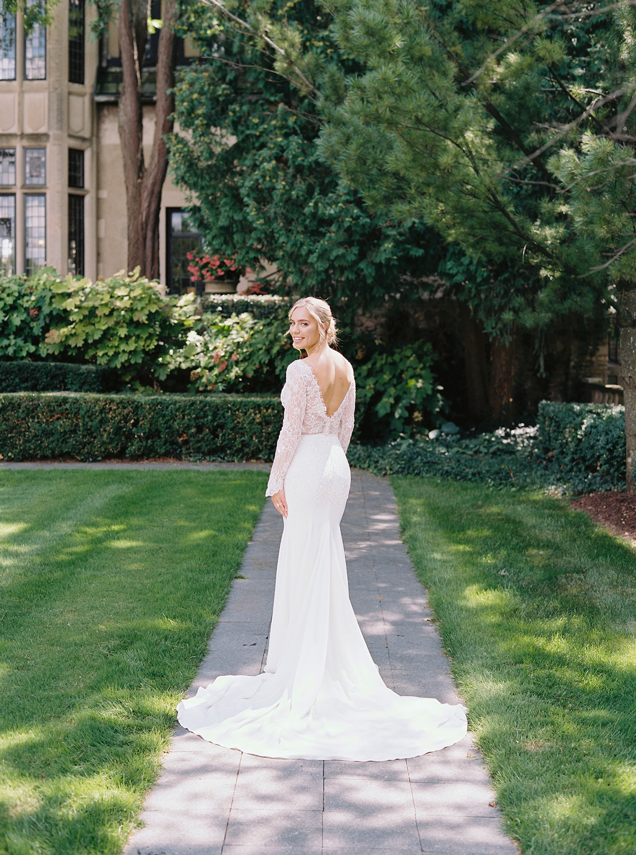 bride wedding dress long sleeve outdoor pose