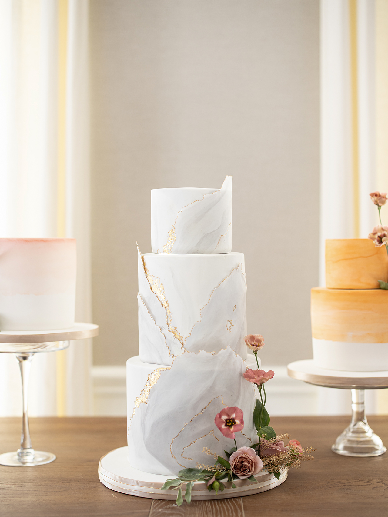 chic marble fondant three tier wedding cake