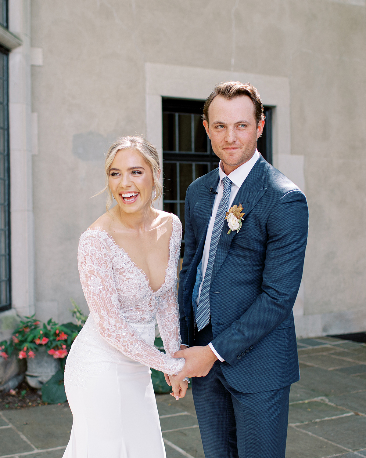 happy wedding couple wedding dress navy blue suit