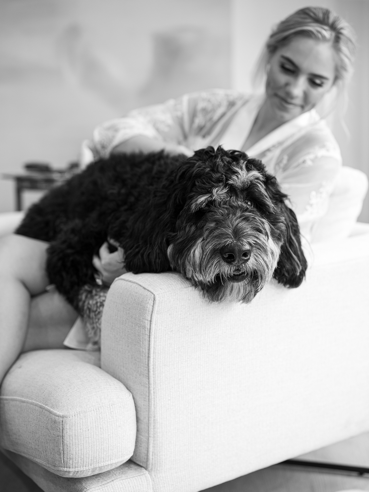 bride relaxing with dog