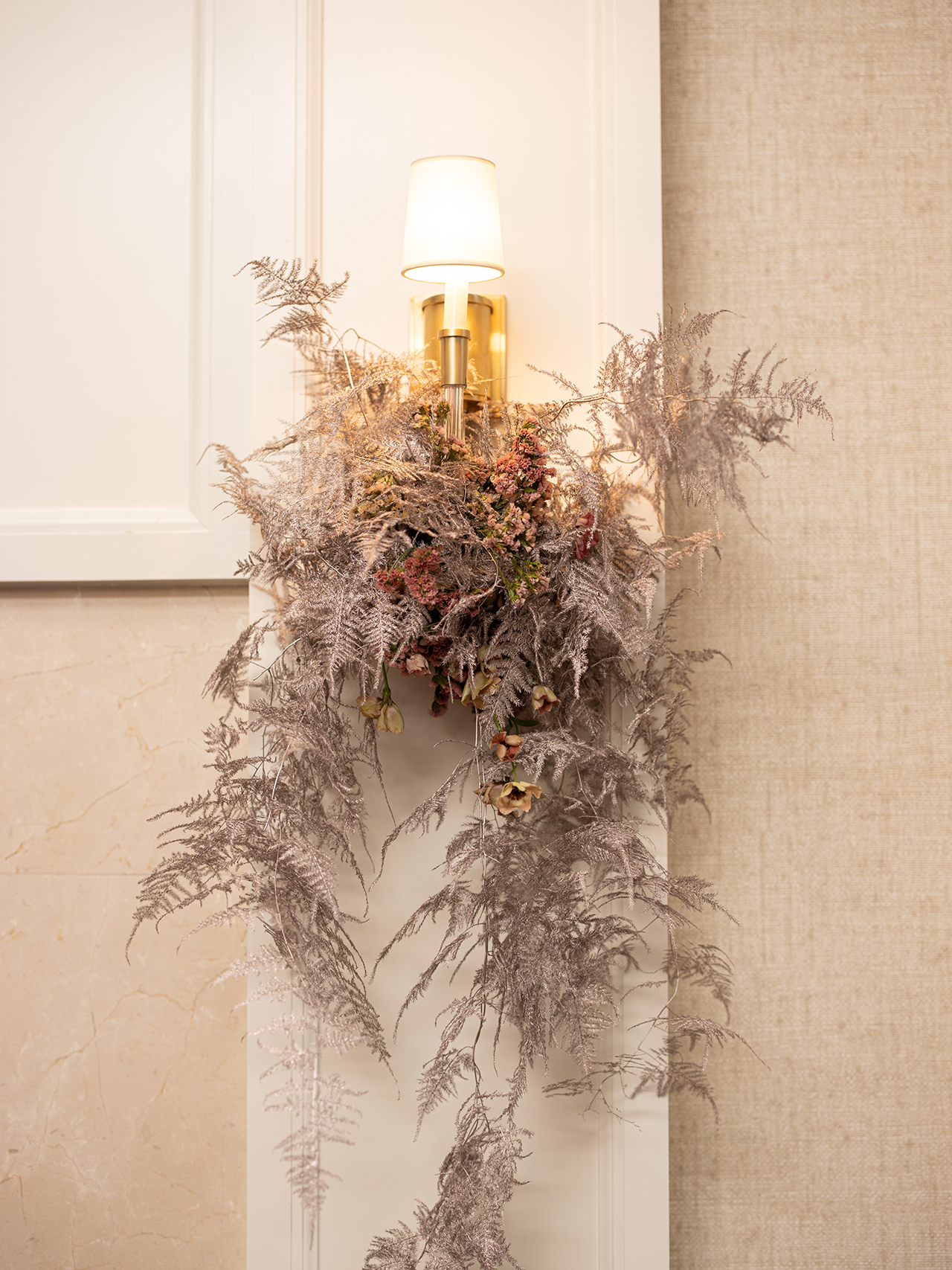 Contemporary grasses neutral buds wall sconces