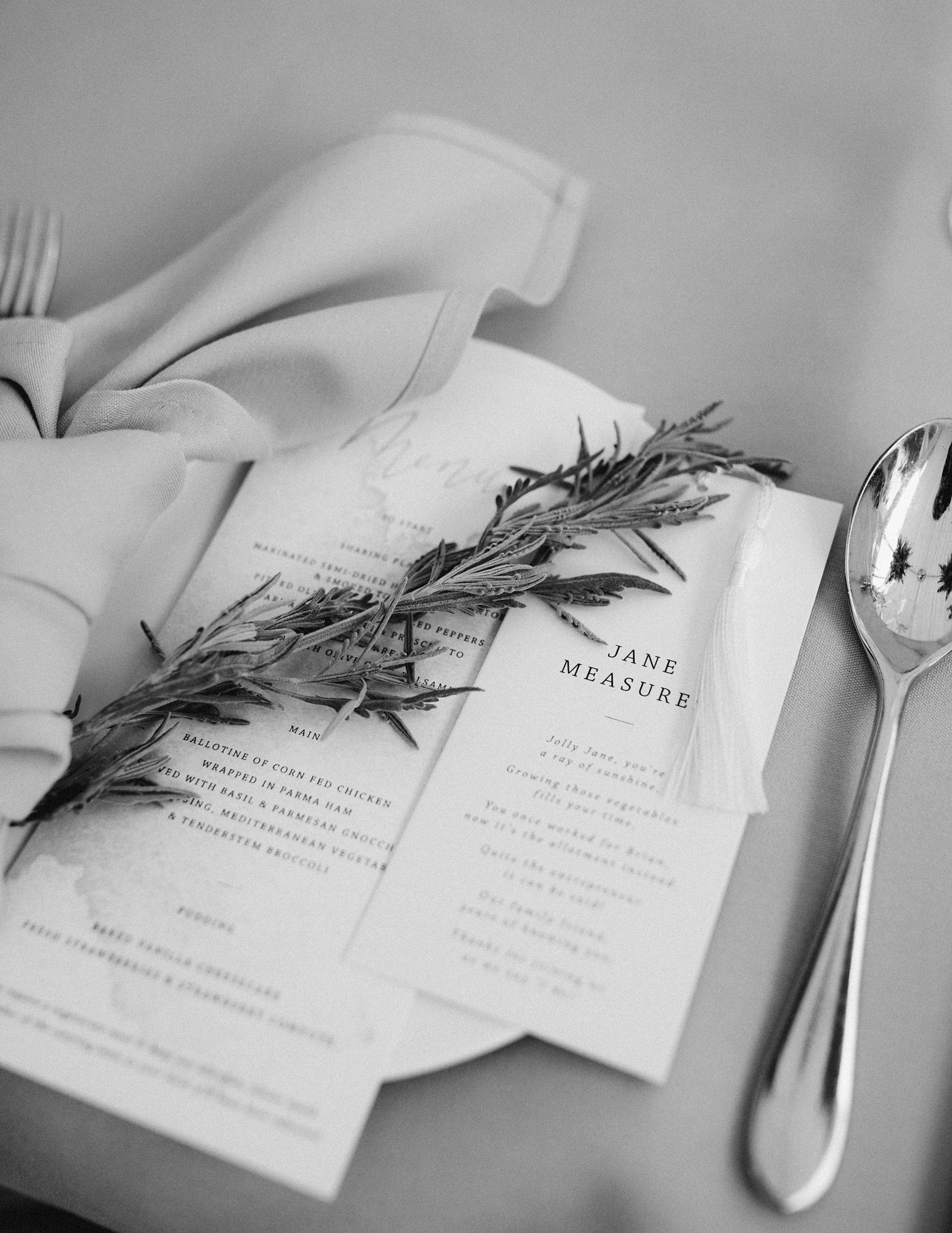 laurie lee wedding reception menu and poem place setting