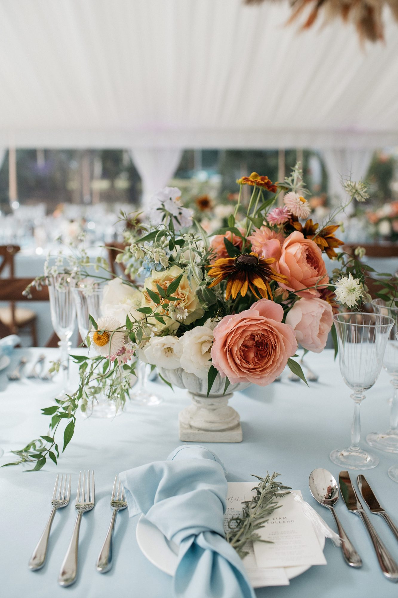 laurie lee wedding reception floral centerpieces