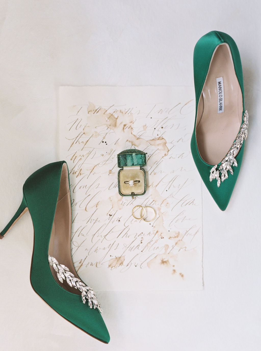 megan henock wedding bride's emerald shoes