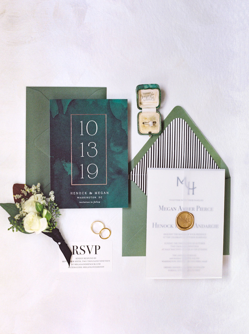megan henock wedding invitation suite in green, black and white