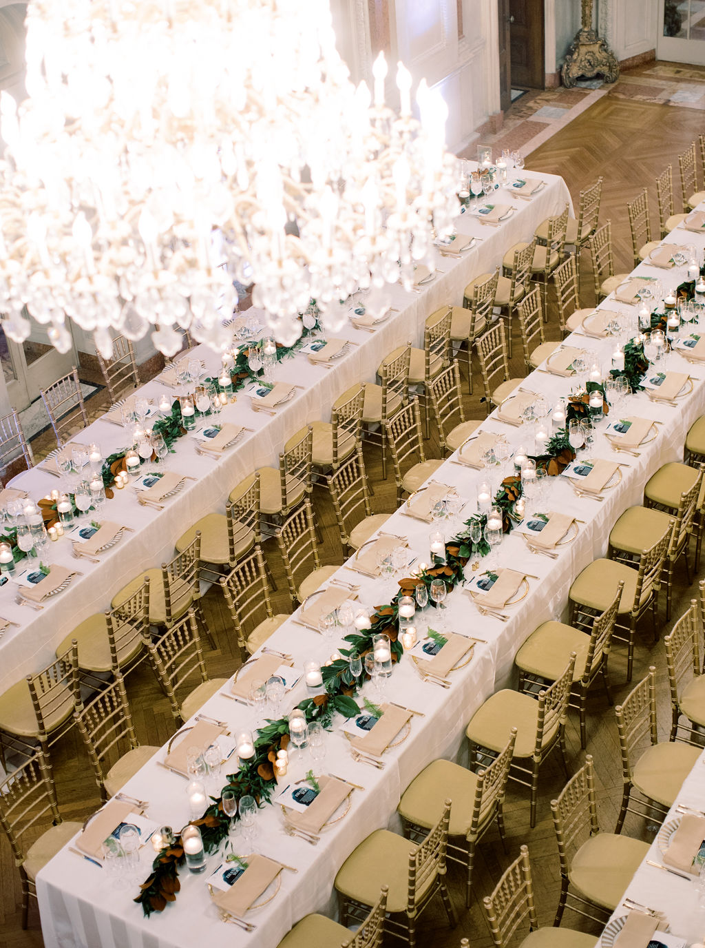 megan henock wedding reception long tables from above
