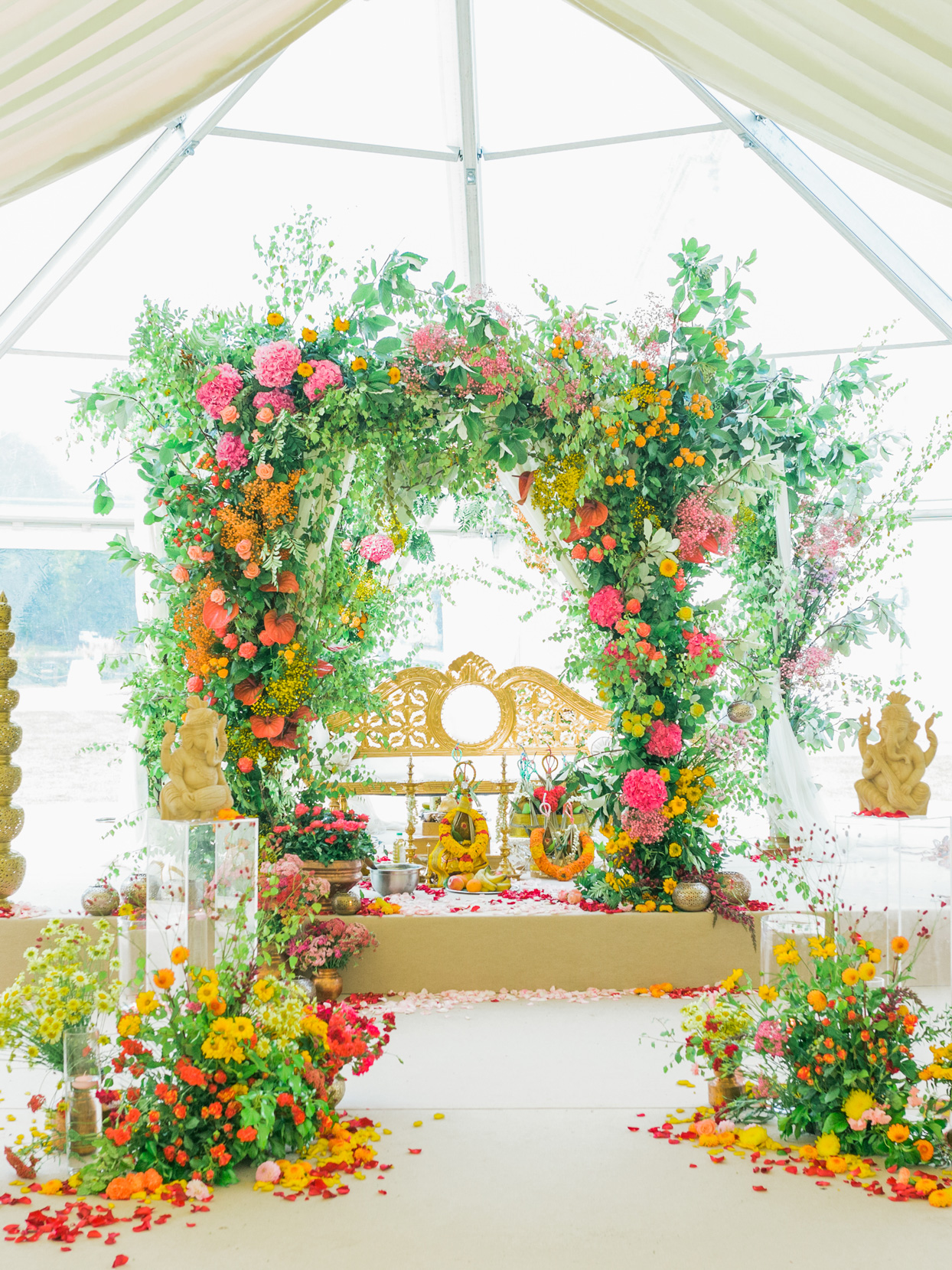 Ganesh statues and floral display wedding ceremony