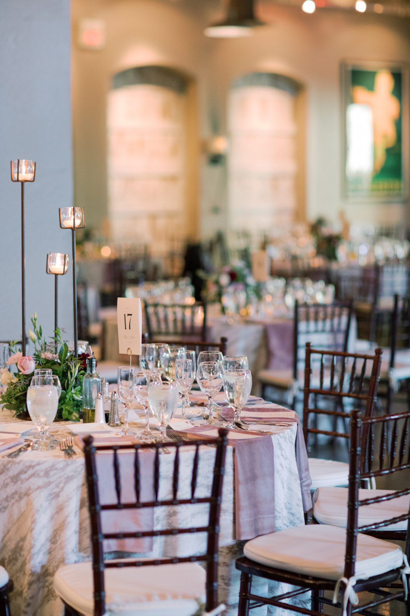 wedding reception tables with place settings