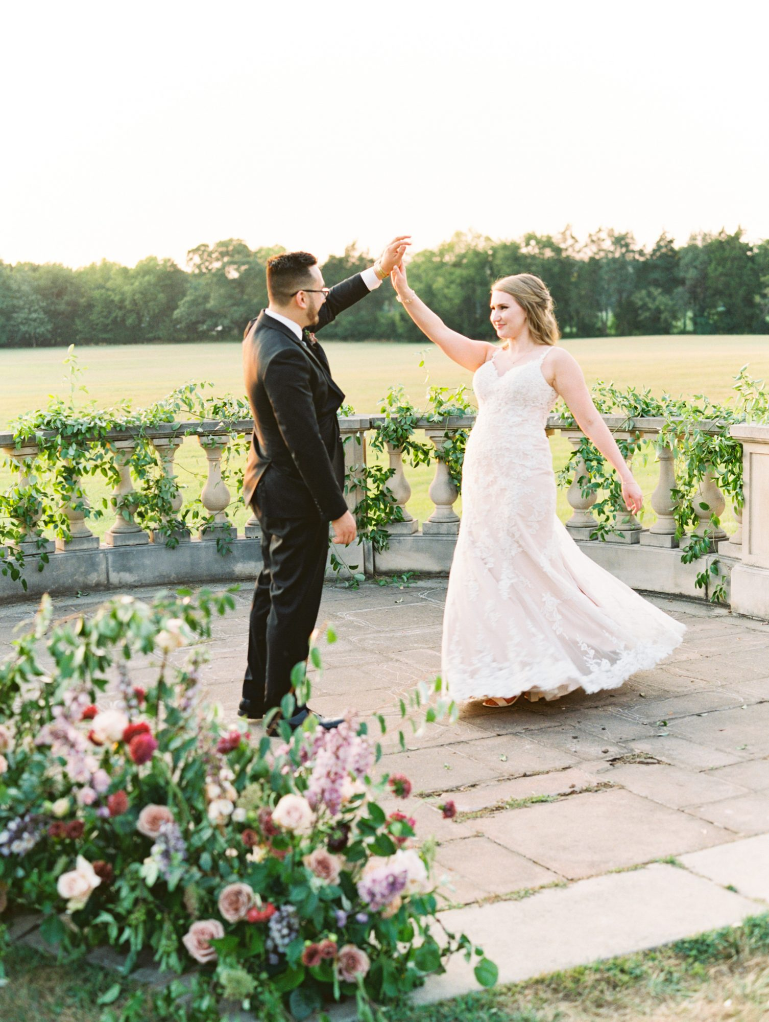 katelyn jose wedding couple high-five during first look