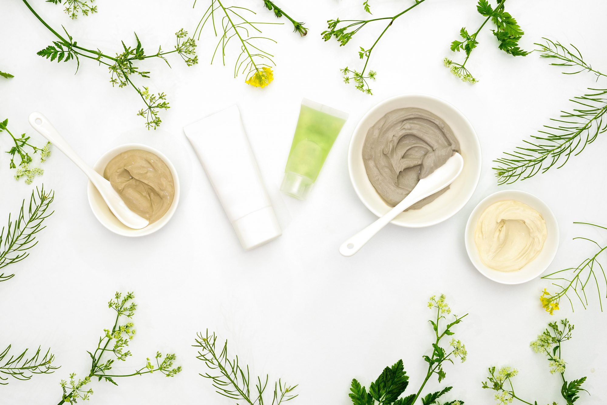 beauty products surrounded by greenery