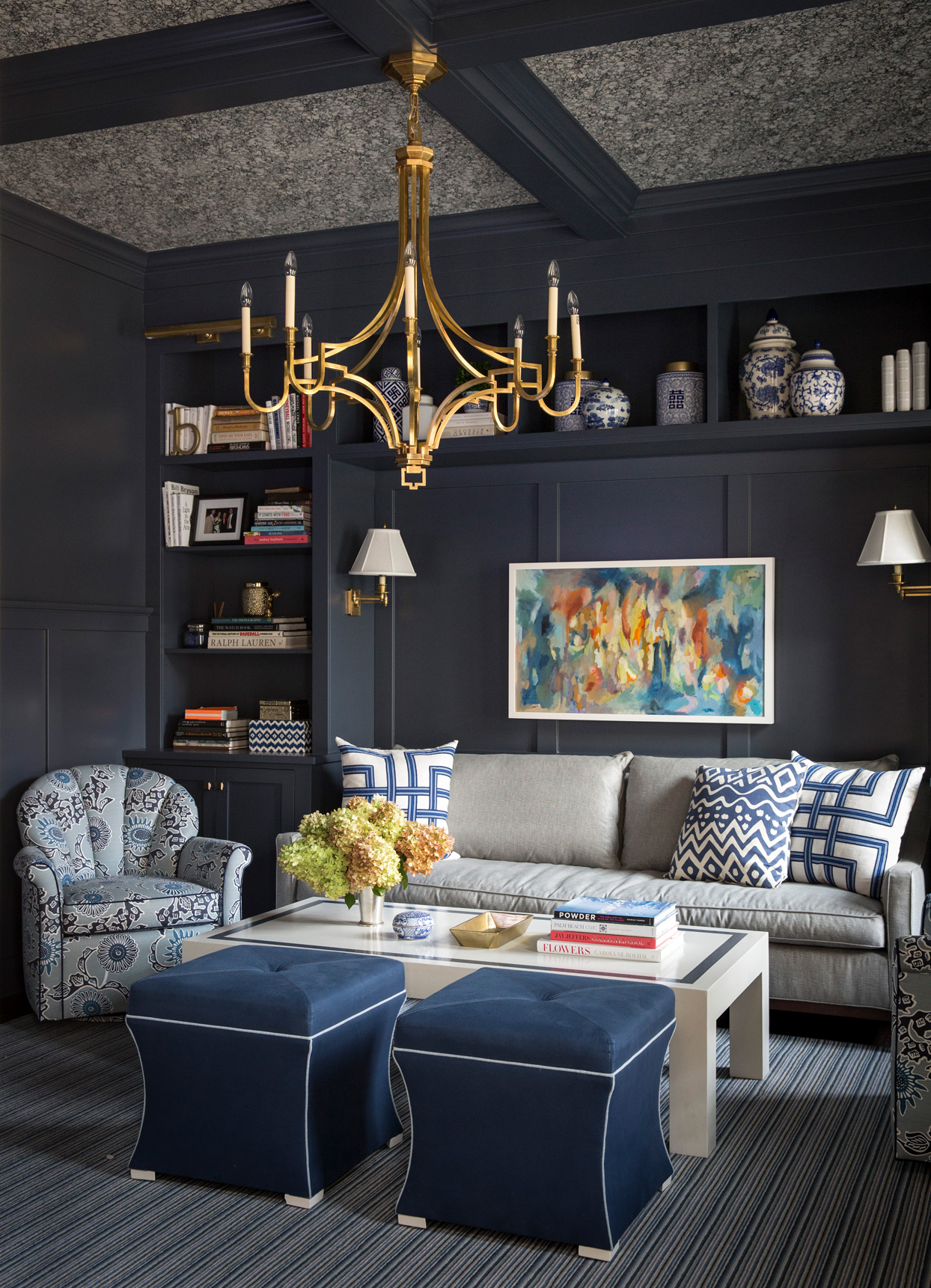 blue white and gold themed room decor and painted walls