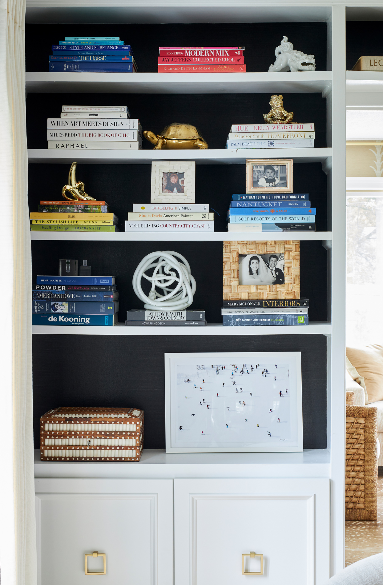 white painted bookshelf