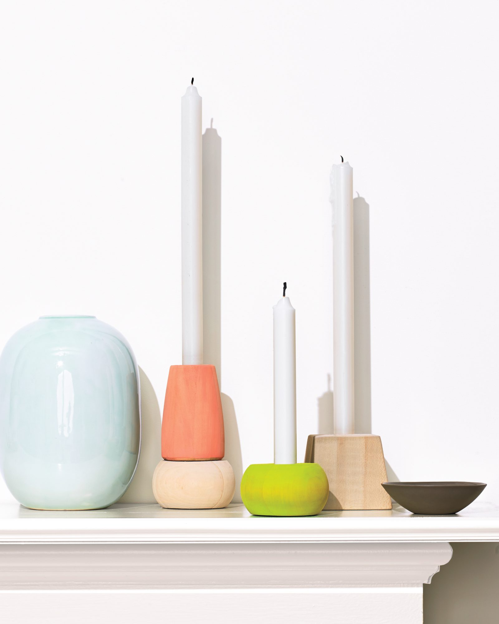 painted wooden candleholders