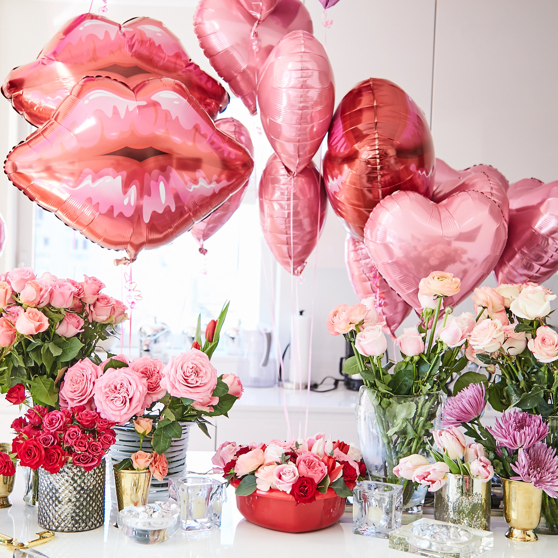 Valentine's Day balloons and flowers on display