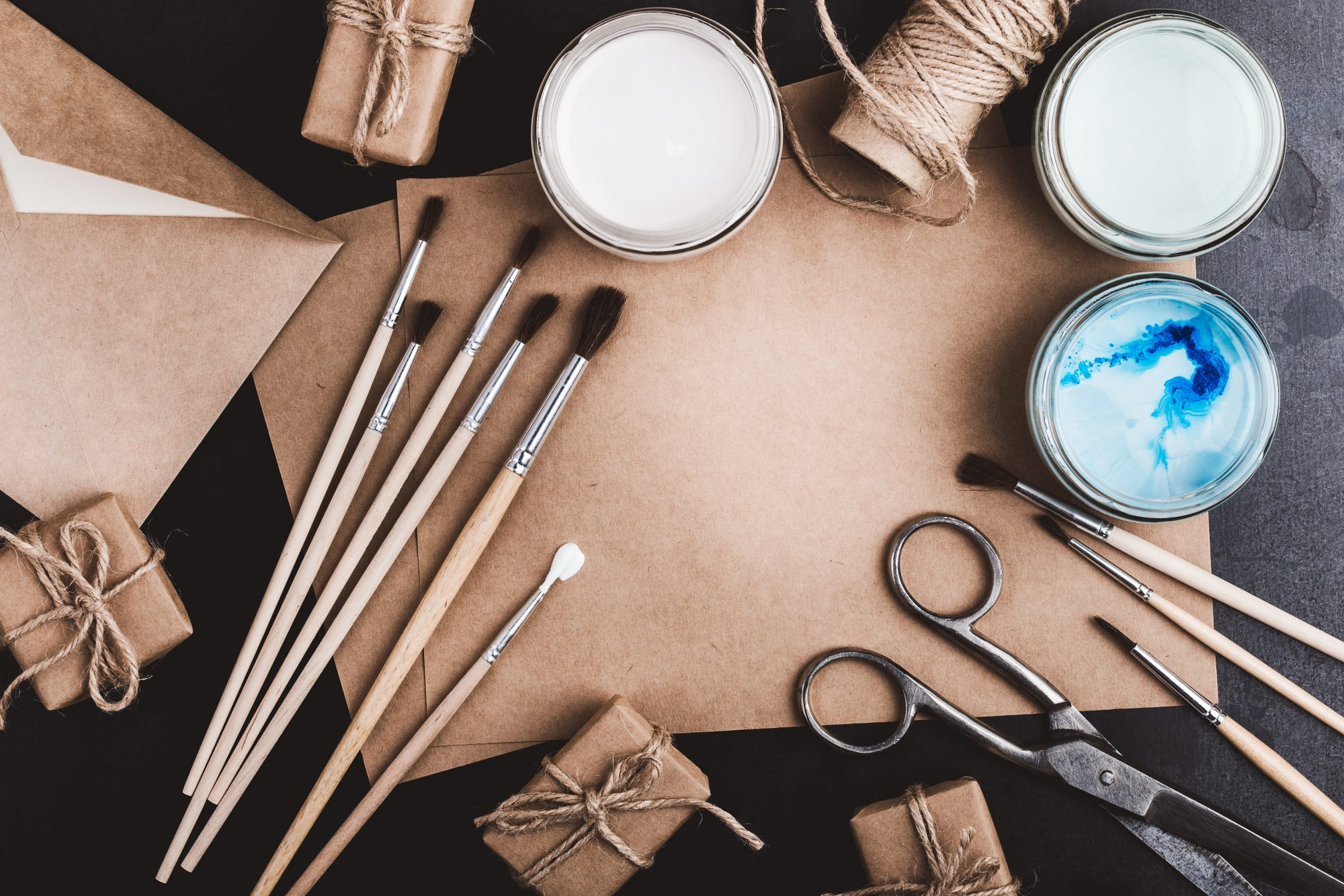 Craft Supplies on Table
