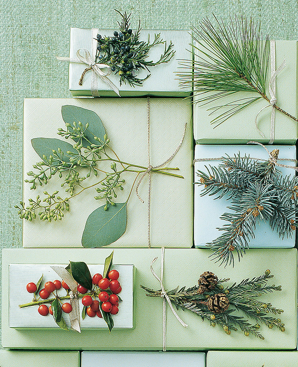 evergreen sprigs on gift boxes