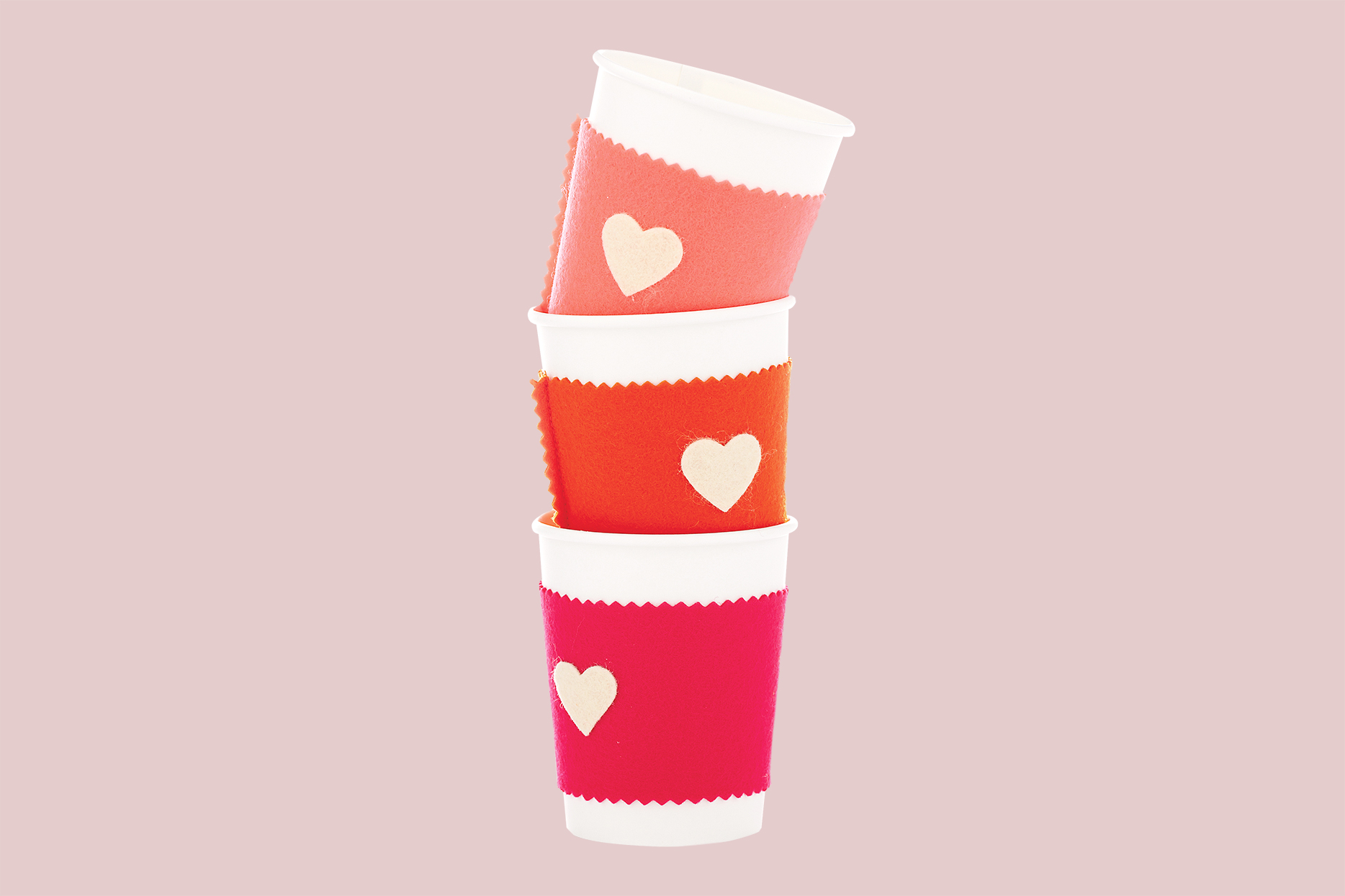 diy felt coffee cozies with hearts