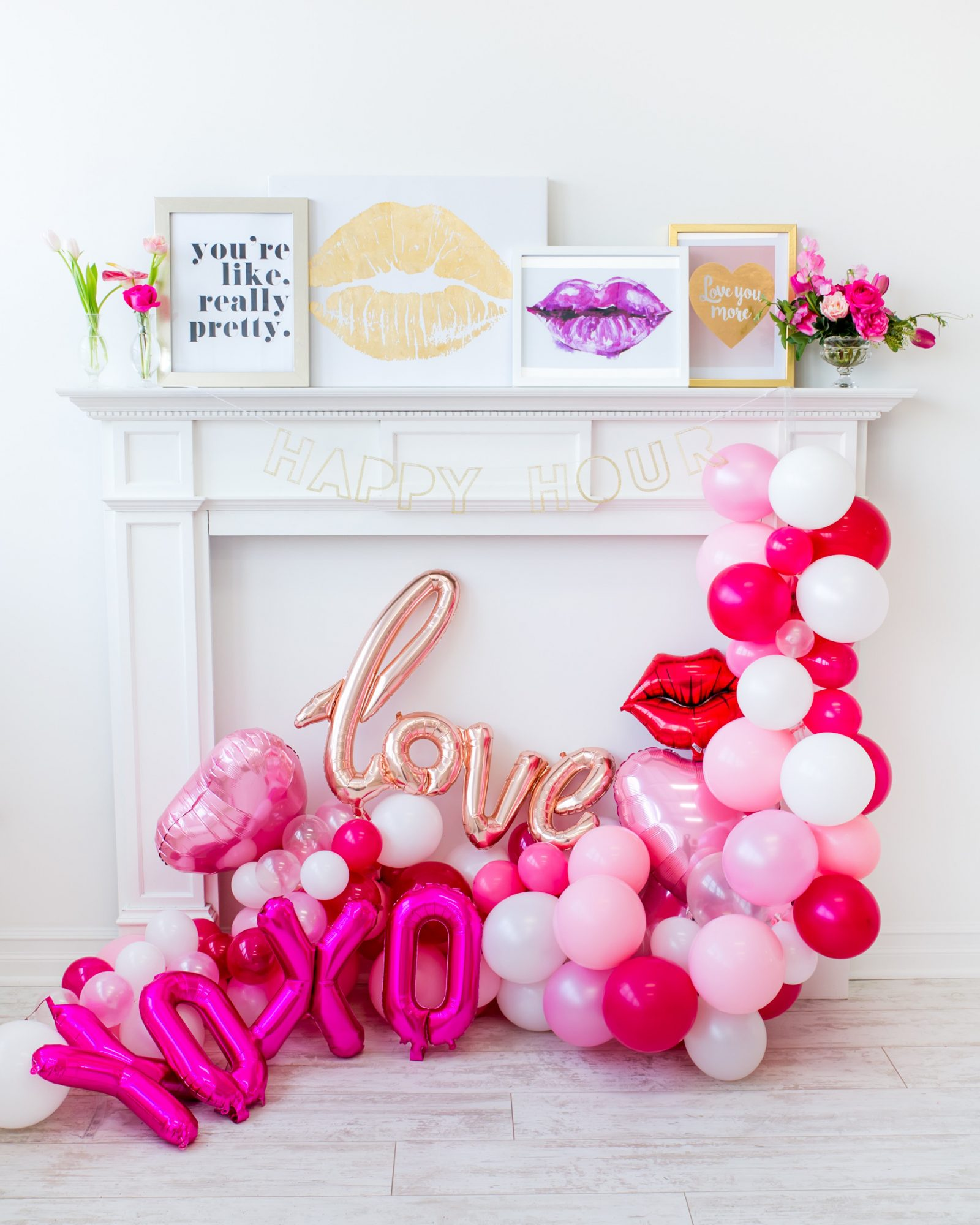 Galentine's Day fireplace mantel decorations
