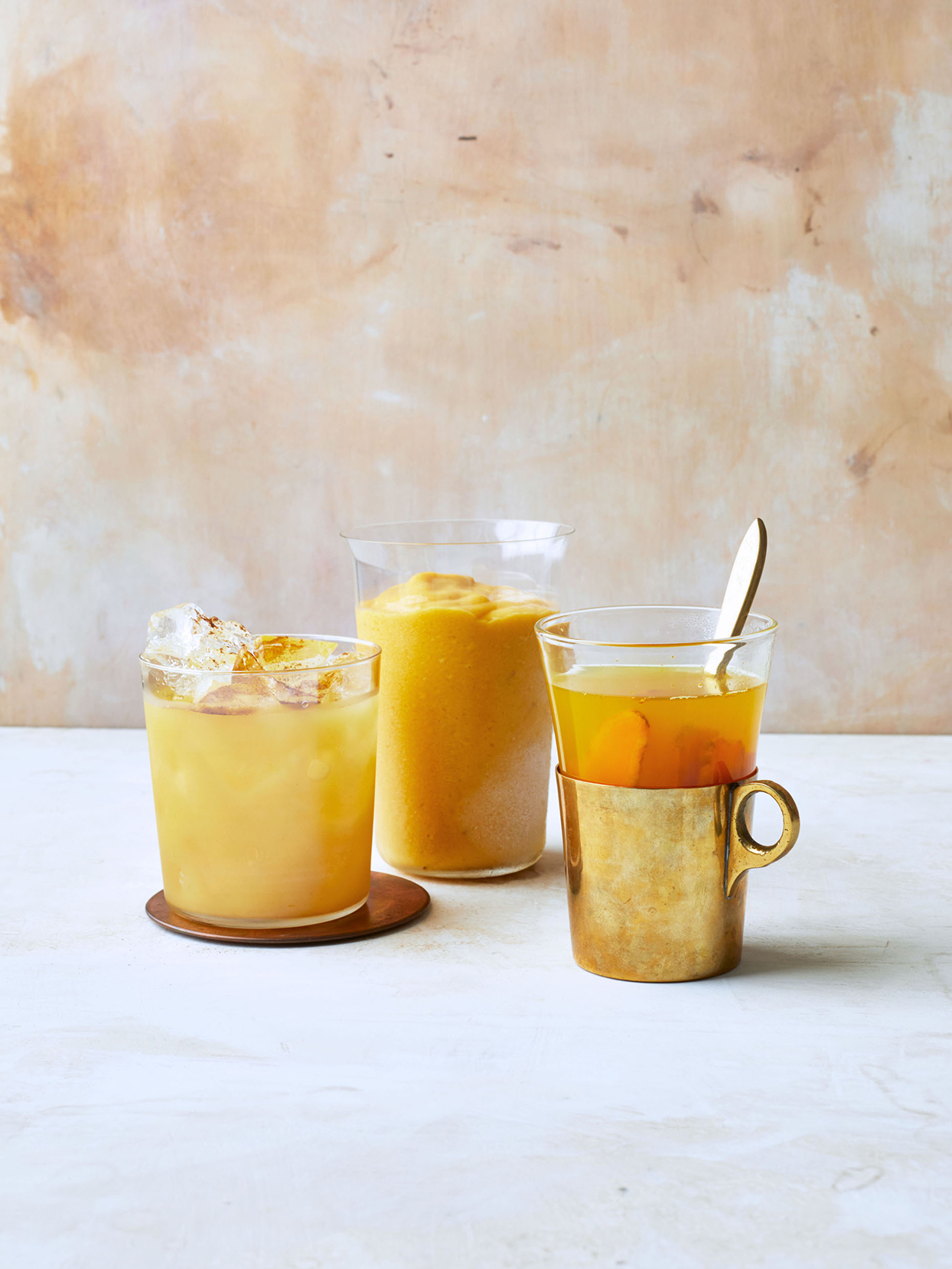golden horchata, turmeric-mango smoothie, and warm-turmeric apple cider