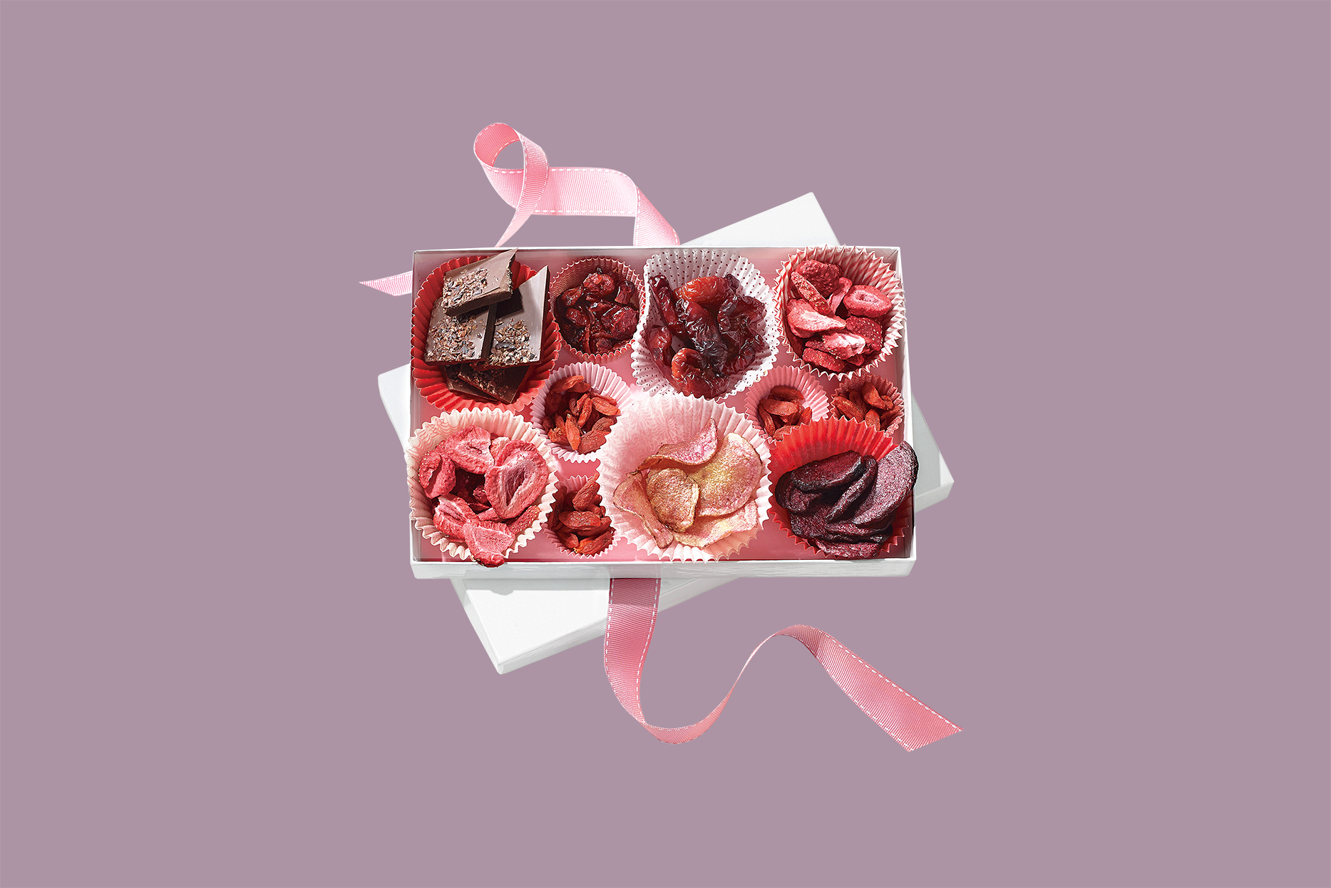 healthy valentine's day treat box with pink ribbon