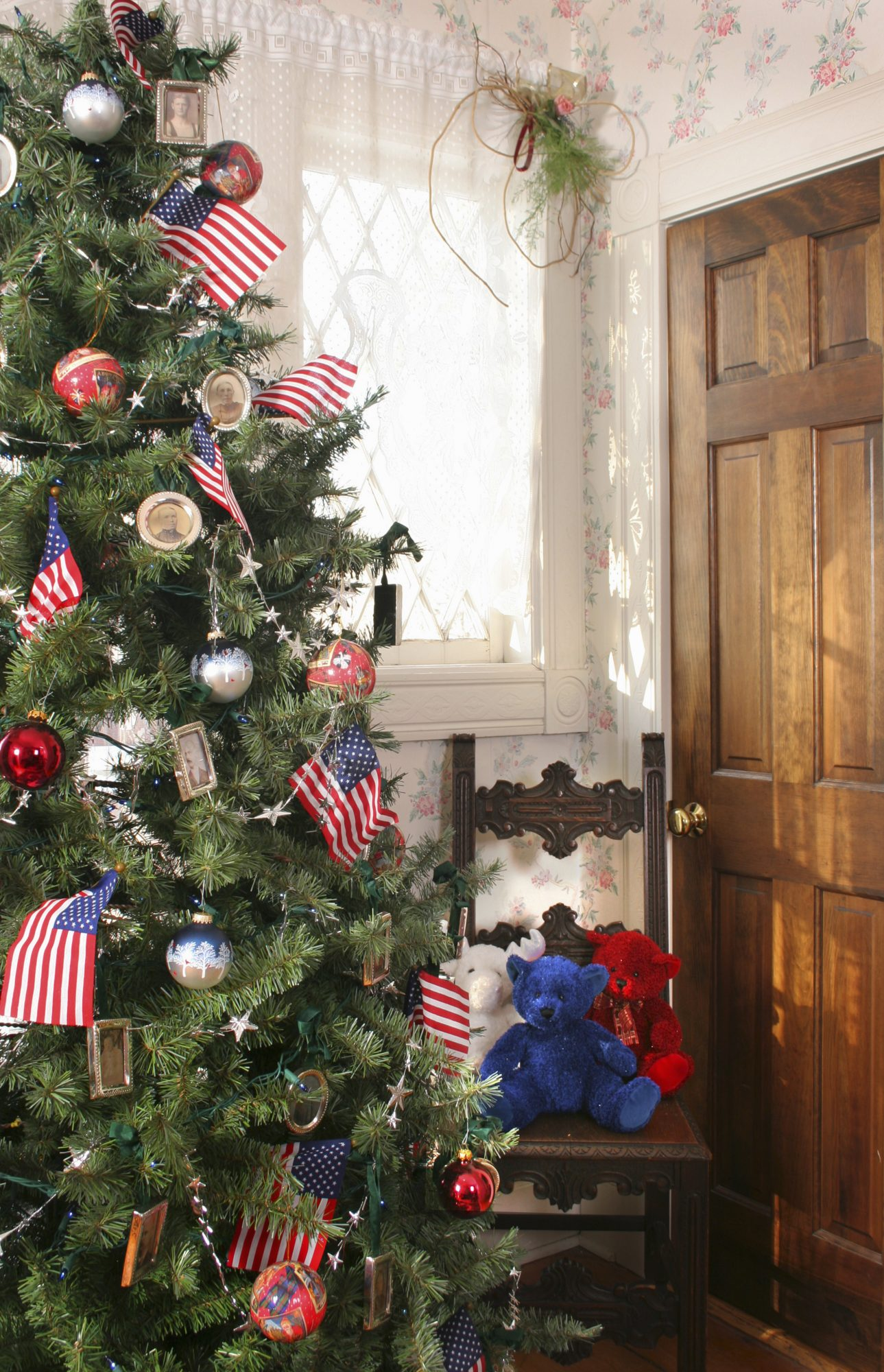 Christmas tree decorated with American stars and stripes theme.