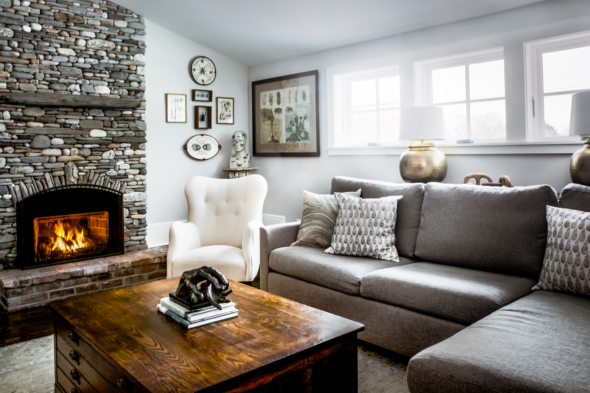 kettle cove home tour living room stone fireplace