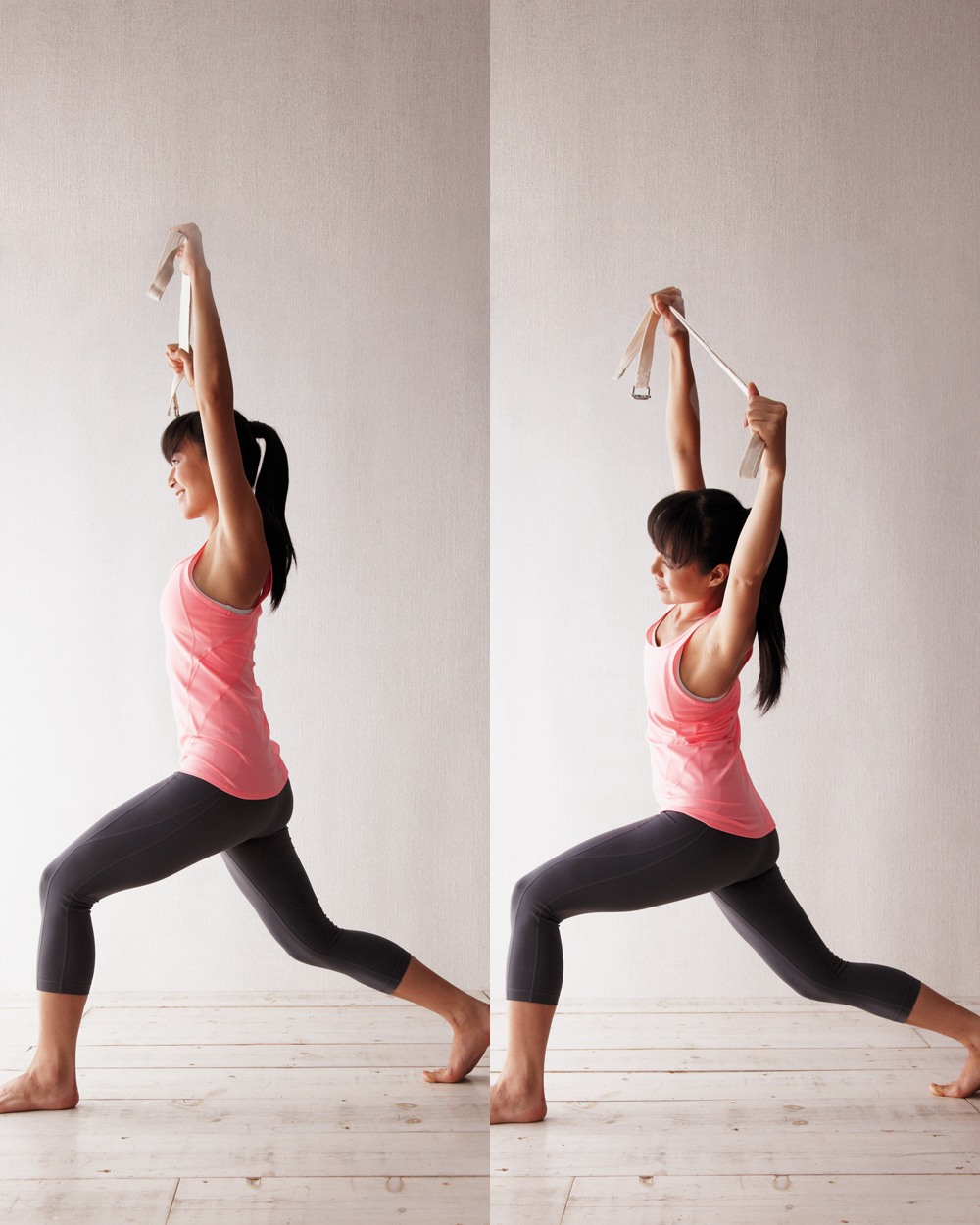 woman doing lunge side bend exercise