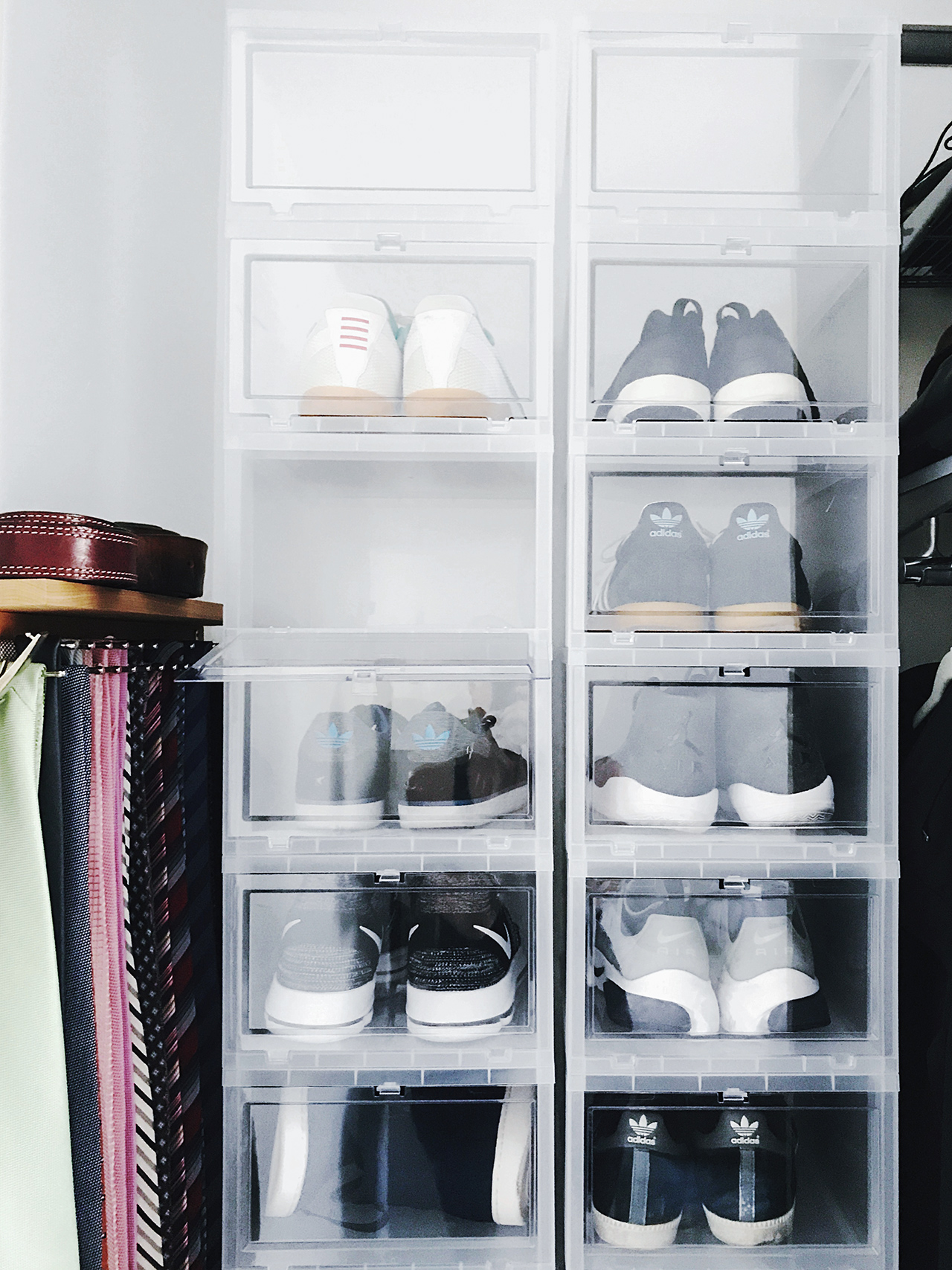 closet space organization stacked shoe bins