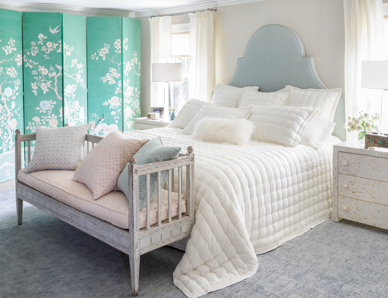 teal white and cream bedroom set