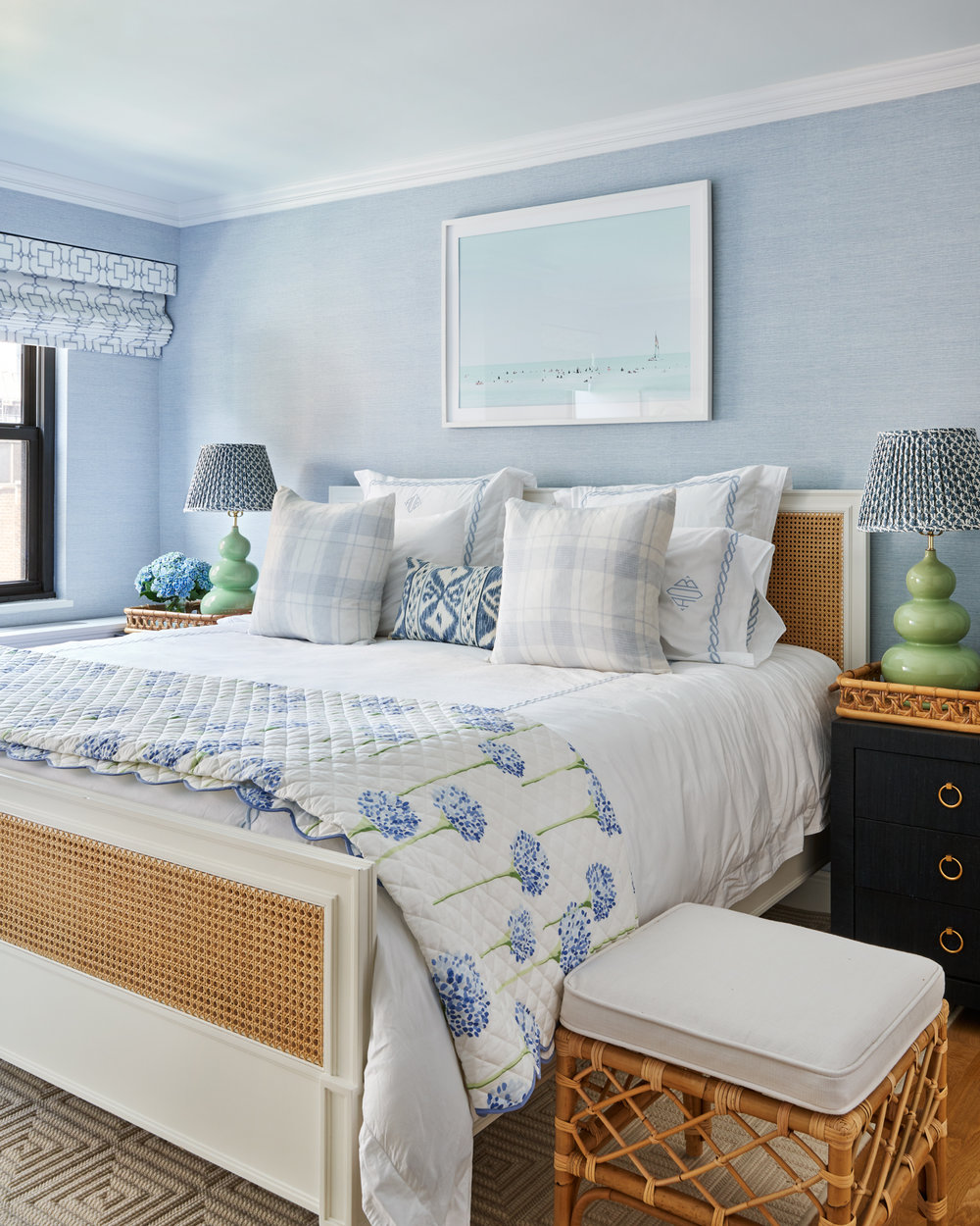 blue floral white and wicker bedroom set