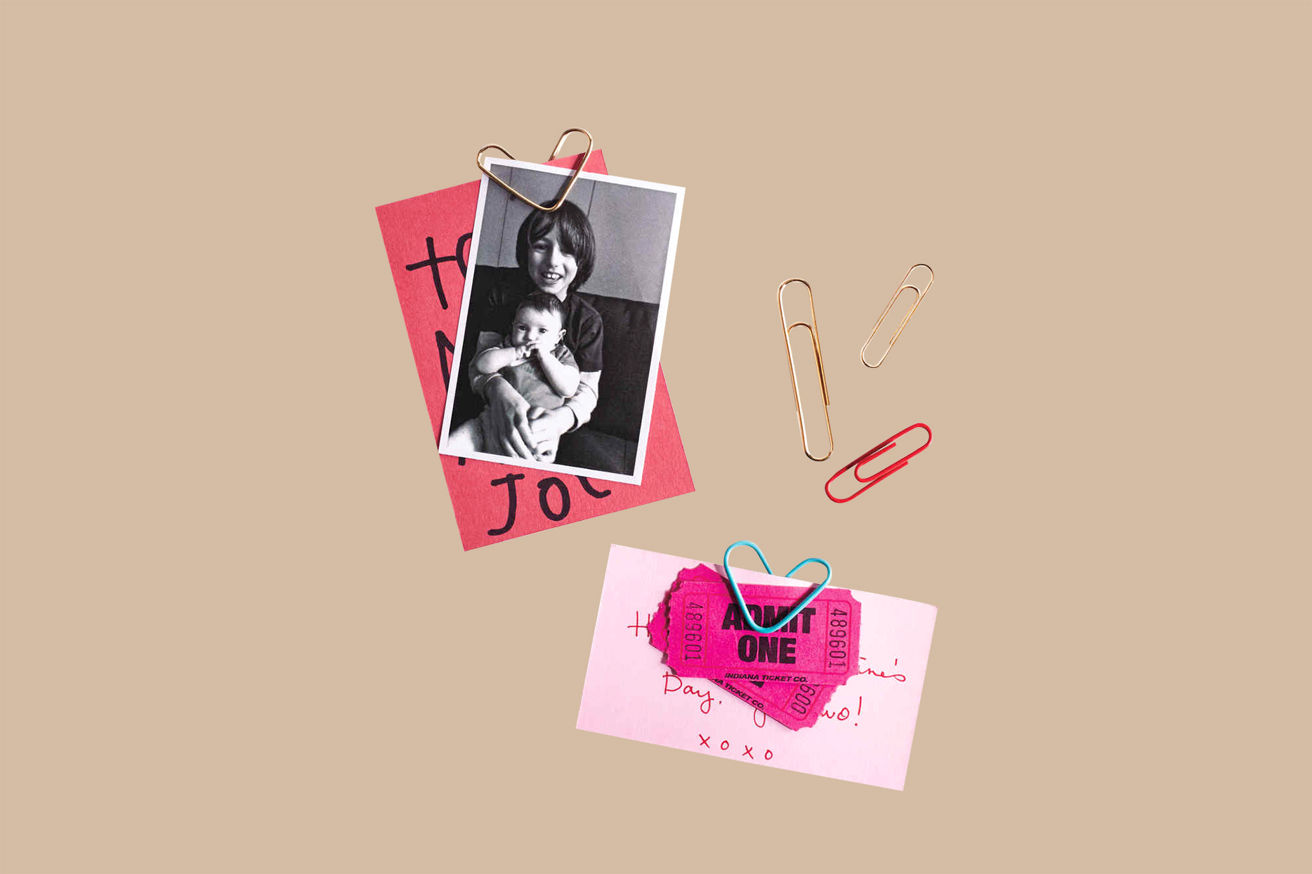 paper-clip valentines with photo, tickets and notes