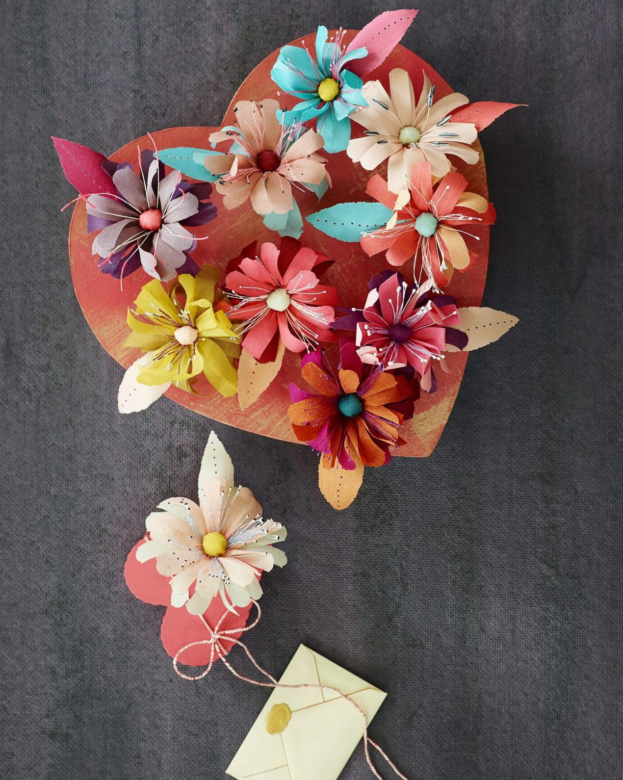 paper flowers on a heart box