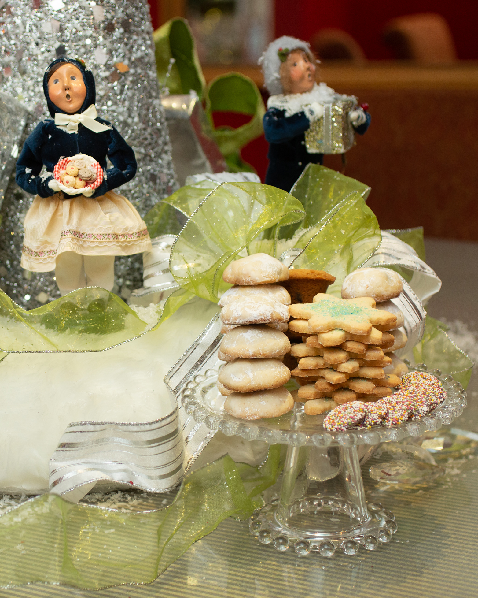 holiday party cookies and festive decor
