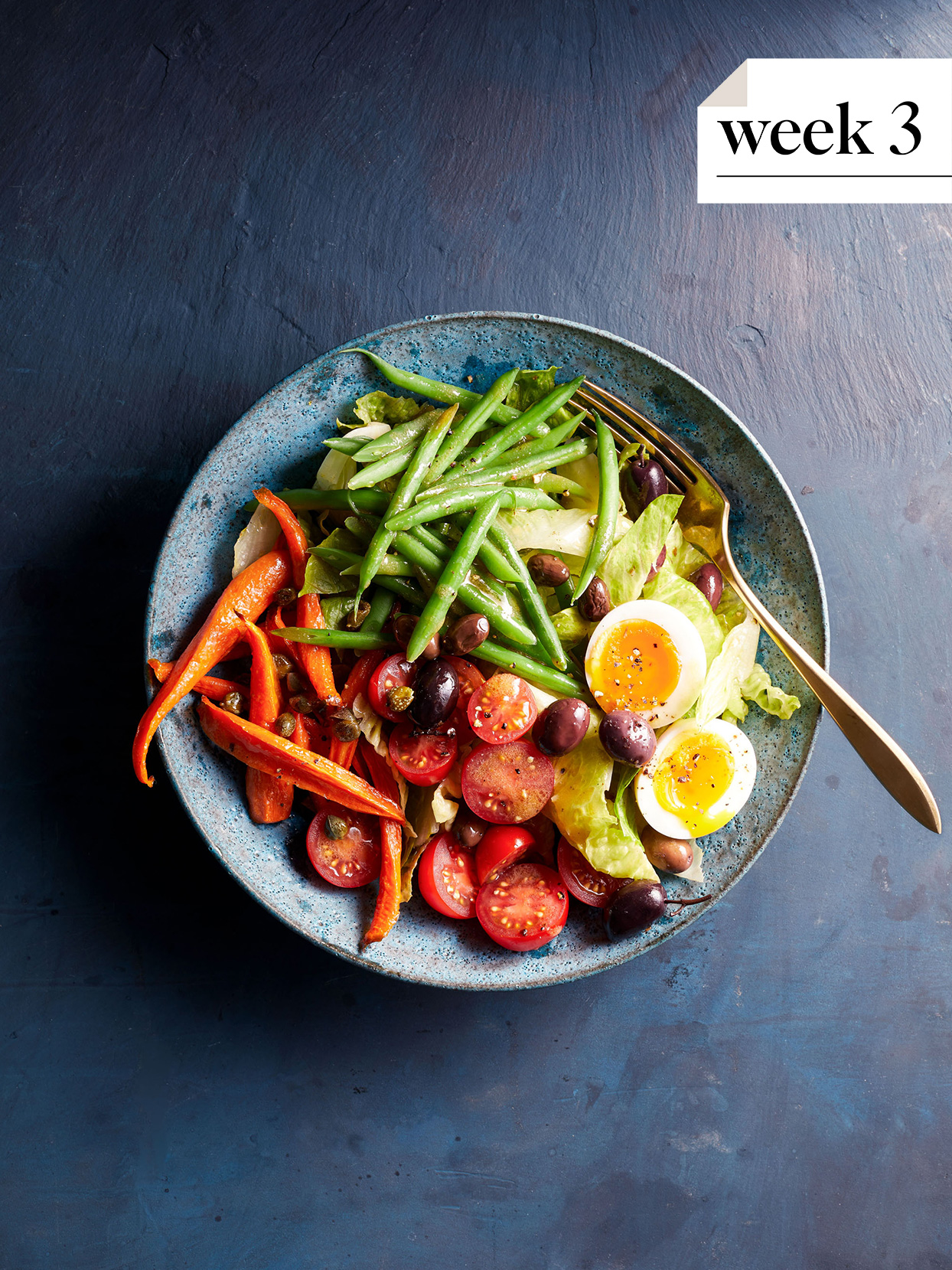 roasted carrot nicoise with eggs