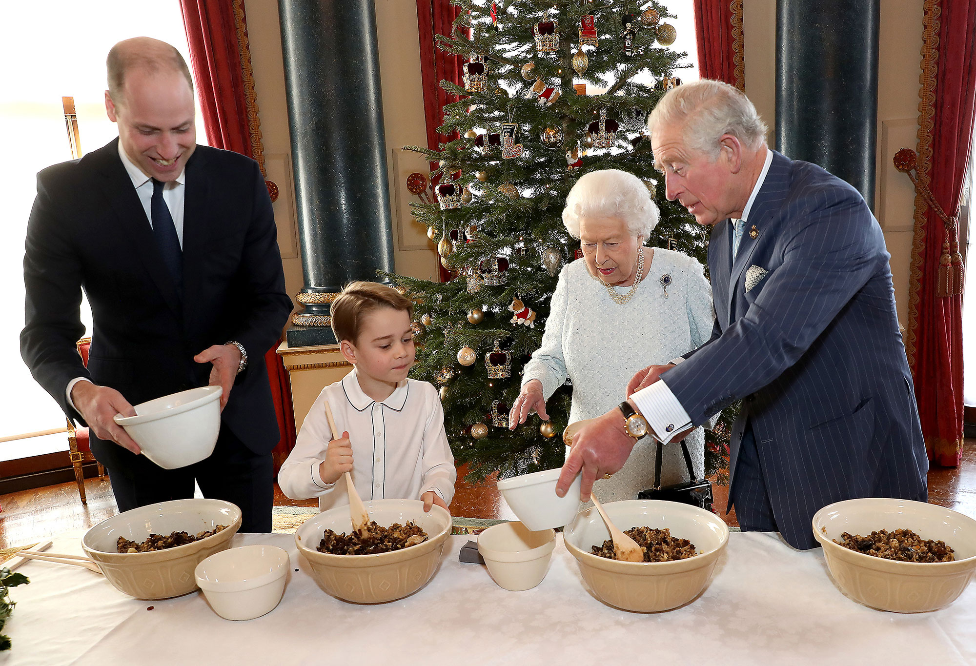 Elizabeth II, the Prince of Wales, the Duke of Cambridge and Prince George