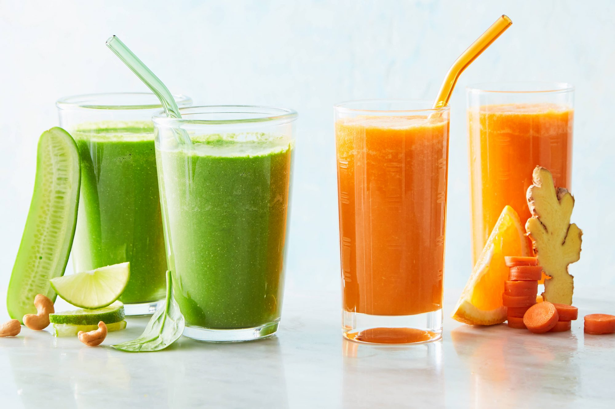green and orange smoothies from Marley Spoon