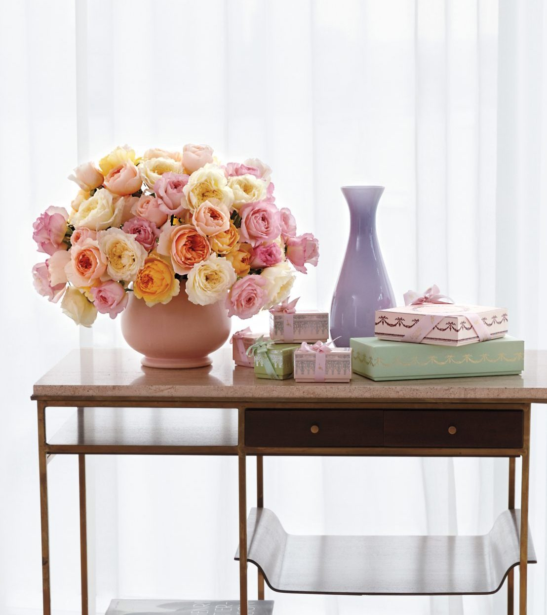 bouquet of roses on a bar cart