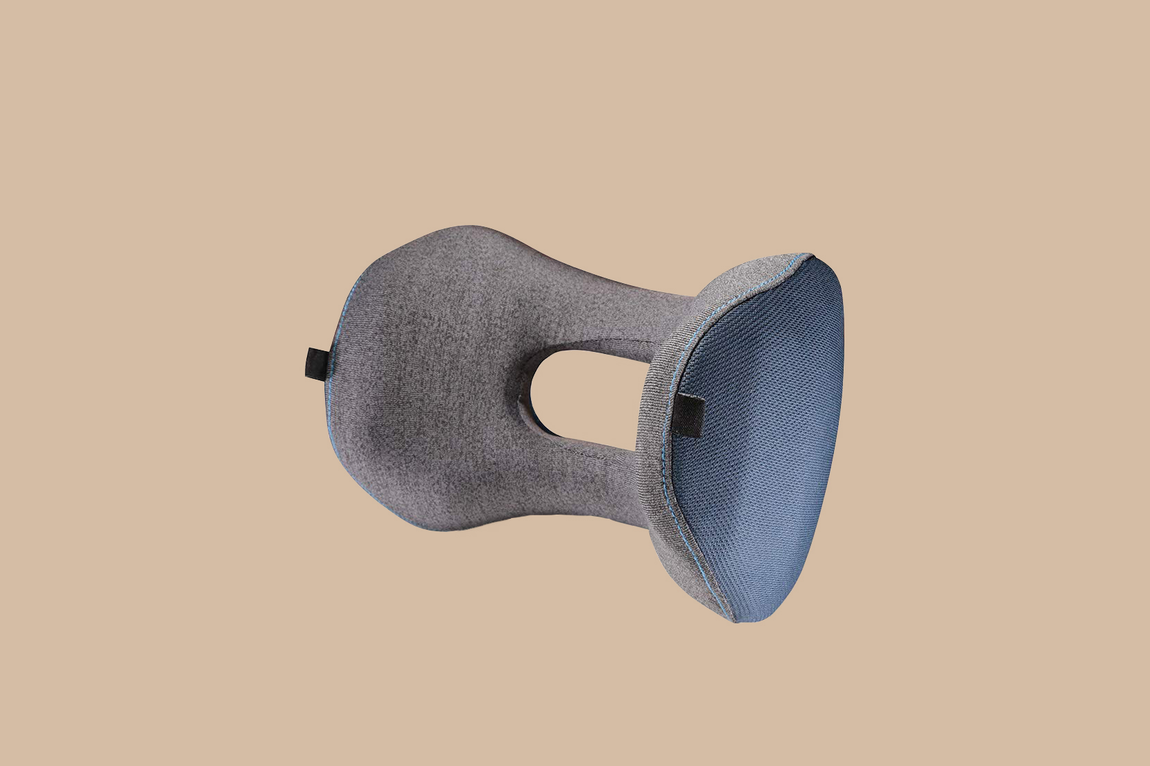 gray and blue travel pillow