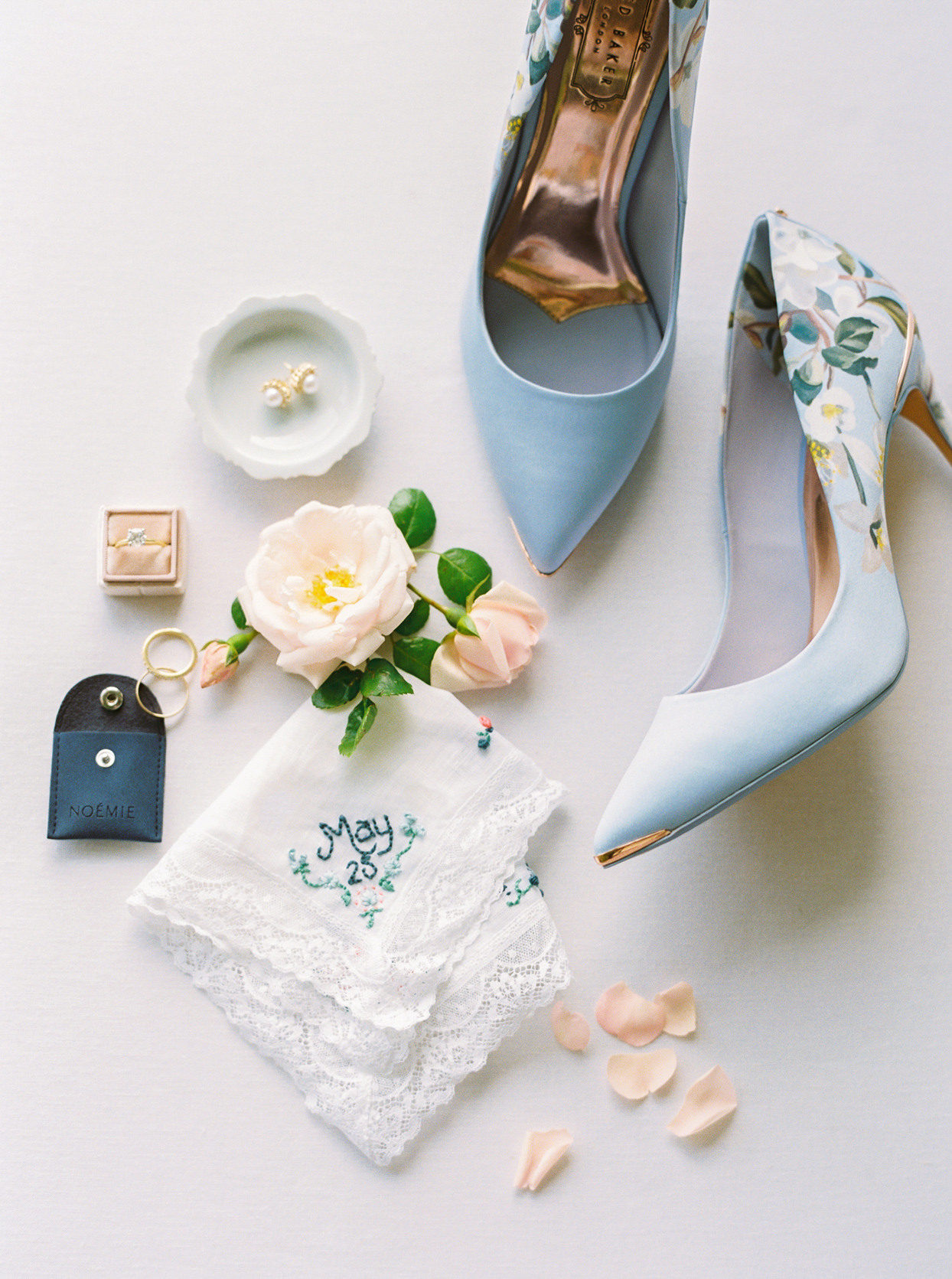pale blue heels, gold and pearl earrings, white linen handkerchief with embroidered wedding date