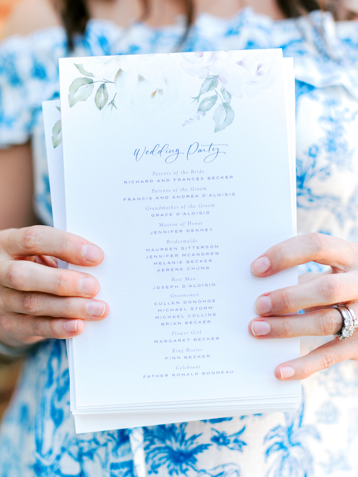 wedding floral pattern on wedding stationery suite