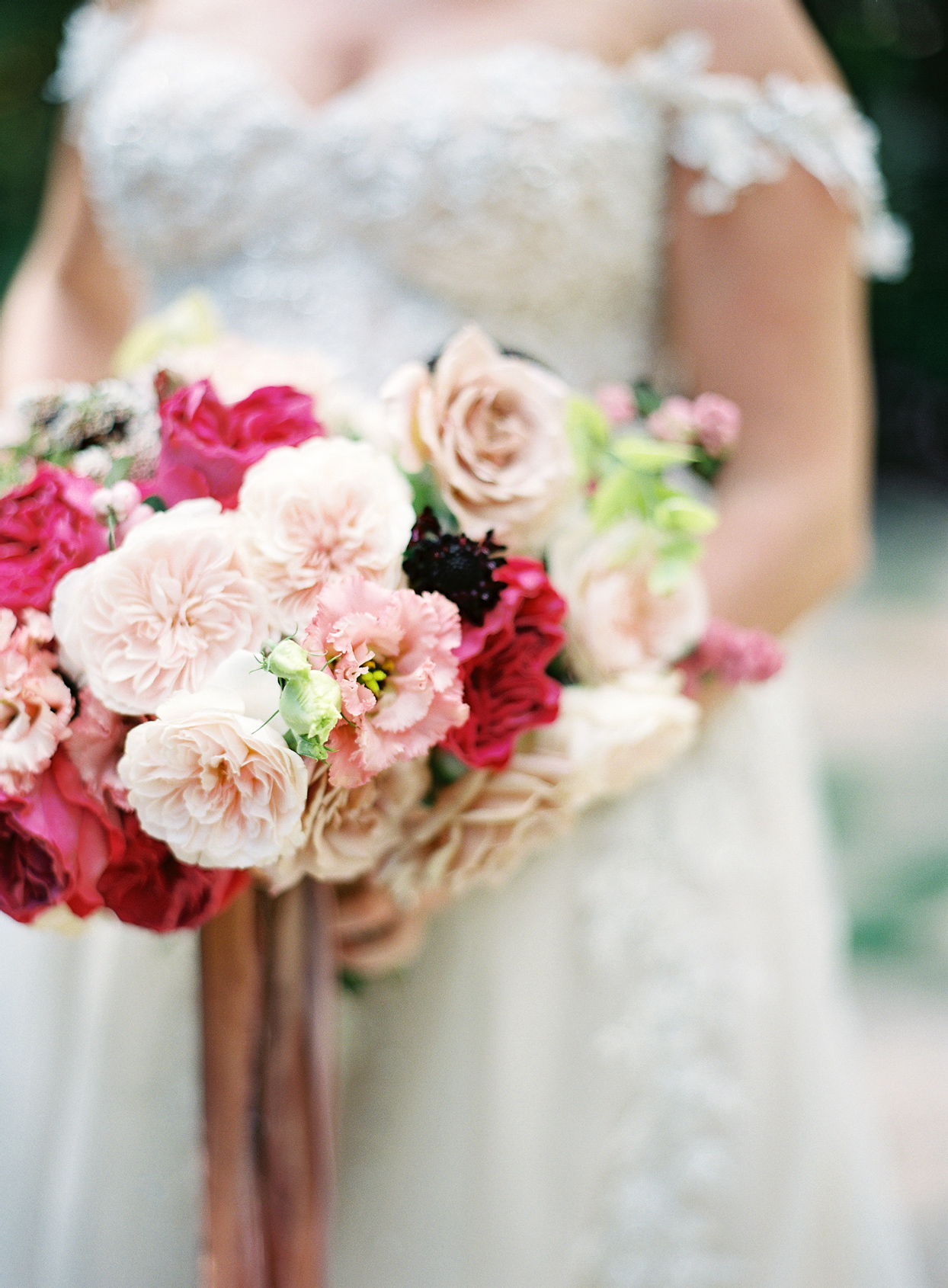 mauve toned multi floral wedding bouquet