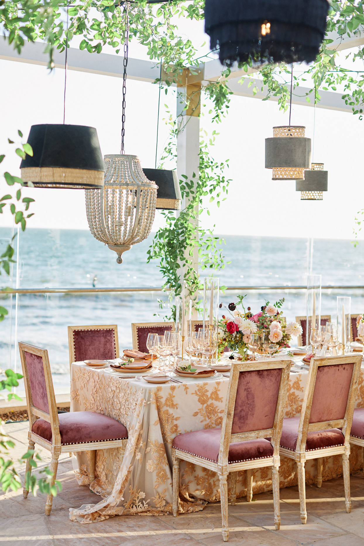 glamorous deep blush and gold colored wedding table