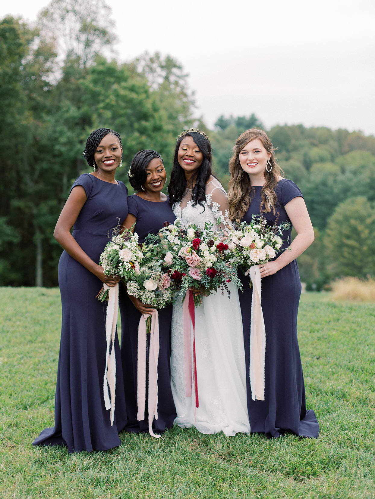 rebecca isaac wedding bridesmaids in dark blue